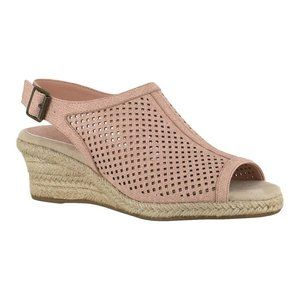 Easy Street Blush Perforated Stacy Wedge Sandals